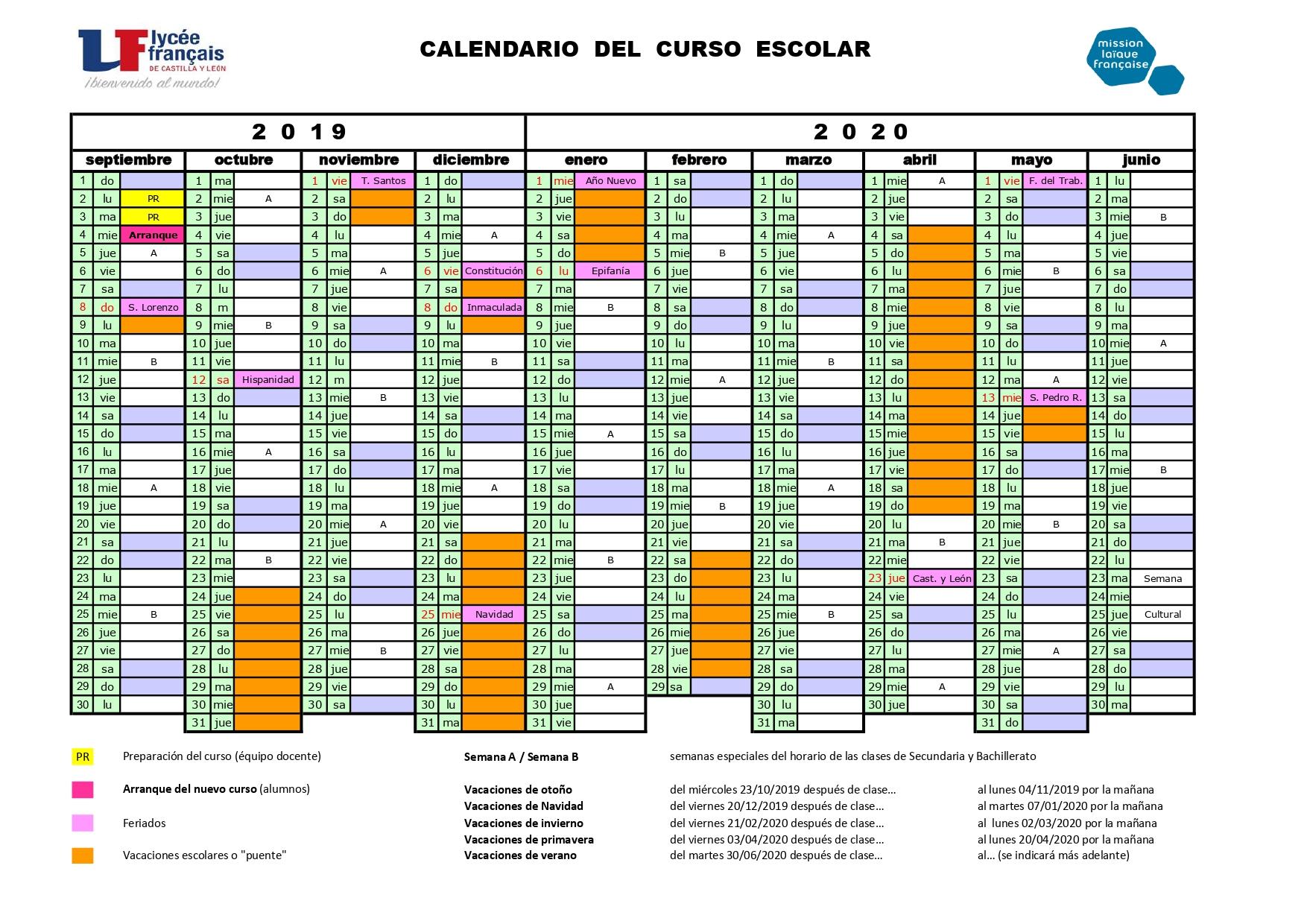 Calendario Escolar Valladolid 2020.Calendario 2019 2020 Liceo Frances De Castilla Y Leon